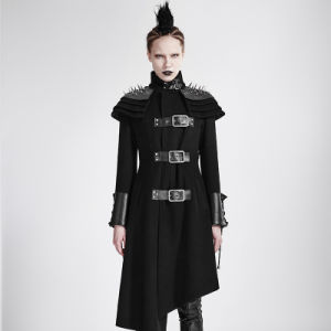 Y-679 Gothic Killers Women Rivets Shoulder Stand up Collar Asymmetrical Long Coat pictures & photos