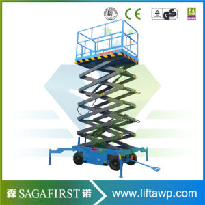 8m 4 Wheels Electric Hydraulic Scissor Lift Industrial Lift Tables pictures & photos