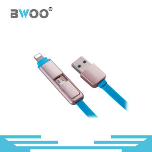 2 in 1 Golden Charging Data USB Cable for Mobile Phone pictures & photos