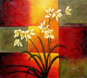 New Design Daffodil Abstract Oil Painting on Canvas (LH-272000) pictures & photos