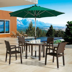 Modern Design Furniture Outdoor Garden Dining Table with Umbrella & Stackable Chairs with Armrests (YTA098&YTD322-4) pictures & photos