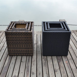 Outdoor Classic Fashion Rattan Square Garden Flower Pot with Inner Steel pictures & photos