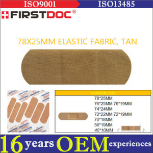 High Quality OEM 78*25mm Elastic Fabric Material Tan Color Adhesive Bandages
