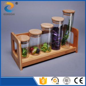 Customized High Borosilicate Glass Storage Jar with Bamboo Lid