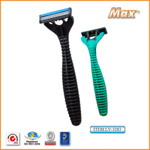 Plastic Platinum Coated Triple Stainless Steel Blade Disposable Razor (LV-3283) pictures & photos