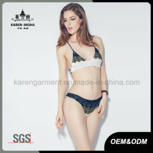 Ladies Tie Back Knitted Pattern Striped Triangle Bikini pictures & photos