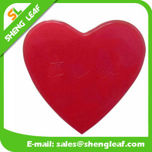 Red Background Heart Shape Logo Rubber Soft PVC Mat (SLF-AP010) pictures & photos