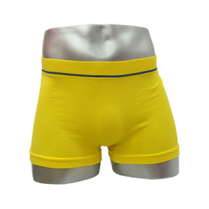 Fashion Seamless Style Men′s Boxer Short Yellow Color with Logo