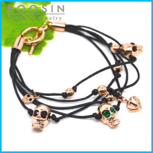 Leather Chain Skull Charm Bracelet #31462 pictures & photos