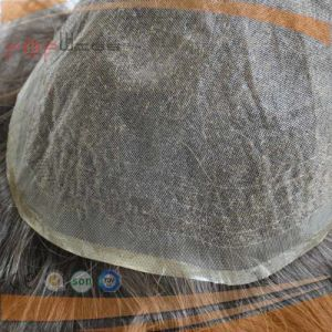 Cheap Hand Tied Full Lace Base Natural Color Indian Human Hair Piece Toupee pictures & photos