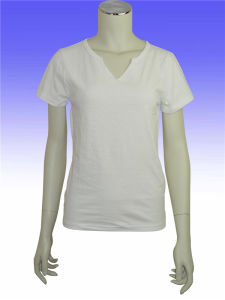 Summer 100% Cotton Women White Pure Color T Shirt pictures & photos