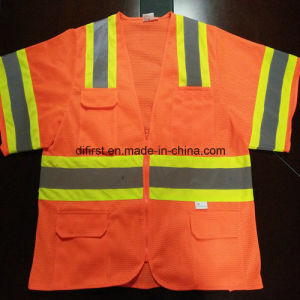 Safety Vest with Reflective Caution Band 100%Polyester Knitting Fabric pictures & photos