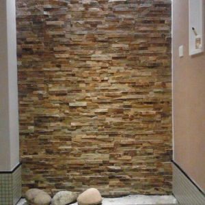 Moden House Design Yellow Rusty Slate Ledge Wall Stone pictures & photos
