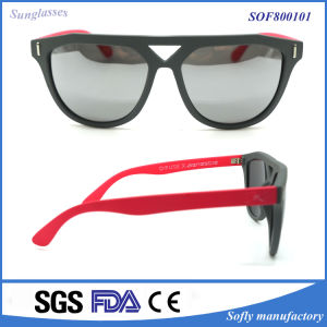 Latest Trendy Stylish Colorful Red Temple Plastic Fashion Sunglasses for Women pictures & photos