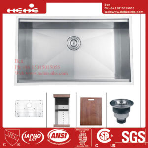 Stainless Steel Handmade Single Bowl Kitchen Sink with Cupc Approved pictures & photos