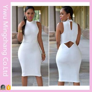 Wholesale Women High Neck Sleeveless White Sexy Club Dress pictures & photos
