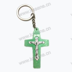 Cheap Luminous Plastic Crucifix Cross Keychain Pendant pictures & photos
