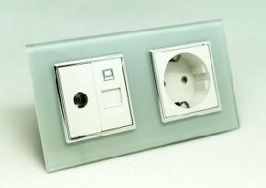 EU Tempered Glass TV Net Data 16A Electrical Multi Socket Combination
