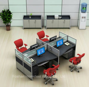 Open Design 4 Seater Office Workstation Small Cubicle with Cabinet (HF-YZQ515) pictures & photos
