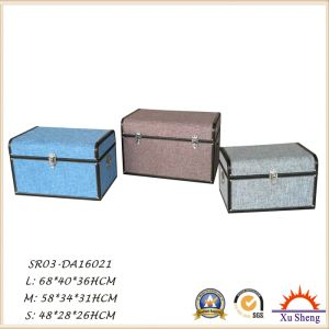 Multi-Color Wooden Decorative Fabric Linen Cloth Cover Storage Trunk Set of 3 pictures & photos