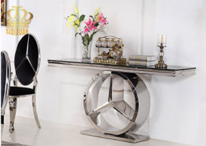 Sj916 Stainless Steel Console Table with Black Temper Glass pictures & photos