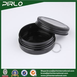 30g 1oz Black Color Pet Plastic Jar with Aluminum Window Cap Cosmetic Cream Jar Wholesale Empty 30g Make up Plastic Jars pictures & photos