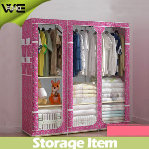 Best Pink Child′s Triple Bedroom Furniture Canvas Wardrobe pictures & photos