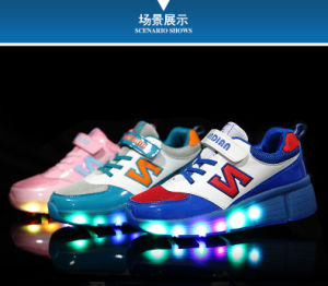 2016 Kids Light Flashing Sneakers LED Shoes Adult Roller Shoes with Lights pictures & photos