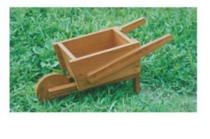 Outdoor Novety Wheelbarrow Planter Antique-Looking Fir Wood Cart Wood Wheel pictures & photos
