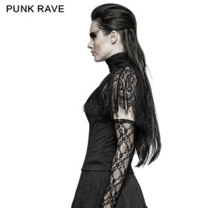 T-448 Punk Rave New Gothic Asymmetric Peacock Cape Black T-Shirt pictures & photos