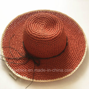 Red Faashion Women Paper Straw Beach Big Wide Brim Summer Hat (HW05) pictures & photos