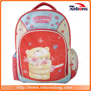 Durable Colorful Bear Flower Embroidery School Bags pictures & photos