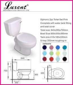 Ceramic Floor Mounted S-Trap Low Price Black Color 2PC Toilet pictures & photos