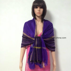 100% Polyester, Viscose Material Multifunctional Scarf with Silver Stripes pictures & photos