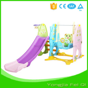 Indoor Mutifunction Playground Slide and Swing with Basketball Hoop Stand for Kid Q Series pictures & photos