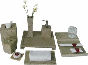 Marble Finish Amenities Holder Set Hotel Balfour Ceramic Bathroom Accessories pictures & photos