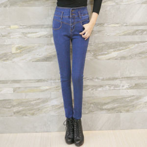 New Ladies Fashion Denim Jeans High Waist Skinny Jeans pictures & photos