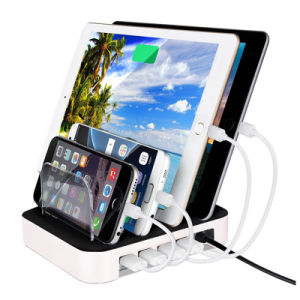 4 Ports USB Charger with Stand 2.4A*2 for iPad 1A*2 for Cellphone pictures & photos