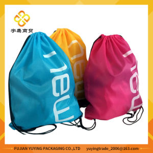 210d Polyester Colourful Nylon Drawstring Bag Backpack pictures & photos