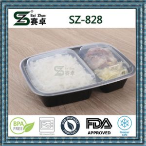 2 Compartment Plastic Disposable Food Packaging Container pictures & photos