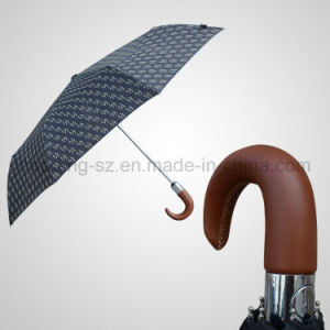 3 Fold Automatic Open&Close Umbrella Real Leather Handle Fashion Umbrella (JF-ADB305) pictures & photos