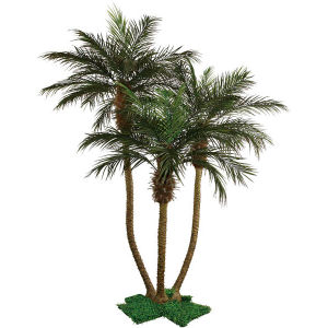 Polyester Artificial Bottom Trunk Palm Tree Plants with 10′′plastic Pot