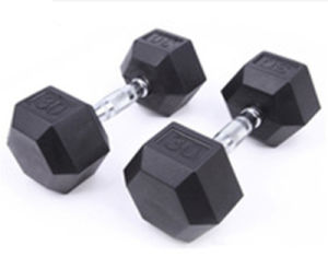 Hot Sale Hexagonal Cast Iron Rubber Coated Dumbbell pictures & photos
