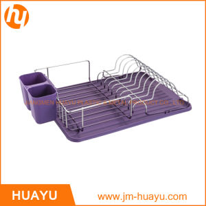 Chrome Plated Dish Rack with Plastic Drain Board and Cutlery pictures & photos