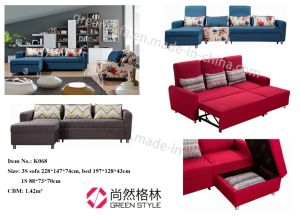 Funtional L-Shape Corner Fabric Sofa Bed pictures & photos