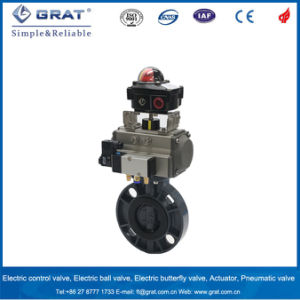 UPVC Butterfly Valve with Double Action Pneumatic Actuator pictures & photos