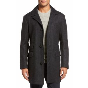 Men′s Dark Charcoal Winter Coat 100% Wool Tweed Overcoat pictures & photos