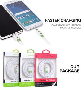 Colorful Flat Noodle Data Cable for Micro/Lightning/Type-C Female Charging Adapter pictures & photos