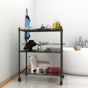 Carbon Grey Powder Coated 3-Tire Bathroom Adjustable Shelf Height Wire Shelving Rack with Nylon Casters, DIY & No Tools Assembly pictures & photos