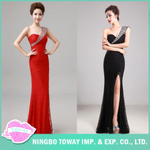 Prom Ladies Sexy Evening Placketing Vintage Black Dress pictures & photos
